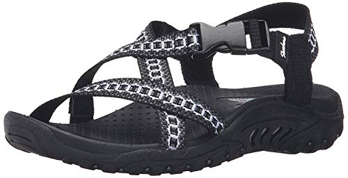Skechers Women's Reggae Kooky Flat Sandal,black/grey,8 M US