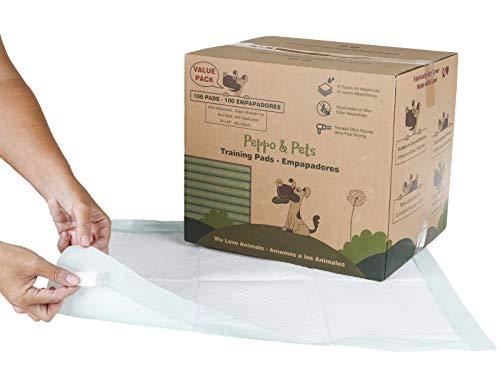 Peppo and Pets -100 empapadores para Entrenar Cachorros - 6 Capas - Súper absorbentes- 60 cm x 60 cm- Secado rápido
