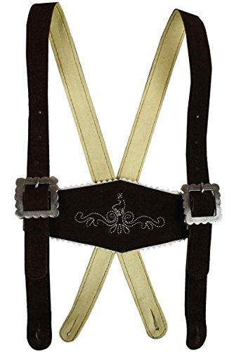 Jungen Hosenträger Kinder Trachten Lederhosen-Träger Stegträger Braun 90cm