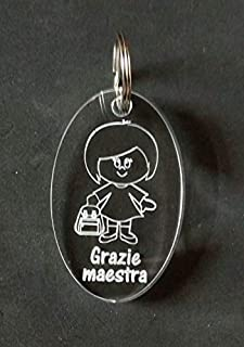 Idea regalo MAESTRA Portachiavi in plexiglass con disegno e scritta PORTACHIAVE originale Dono fine anno scolastico