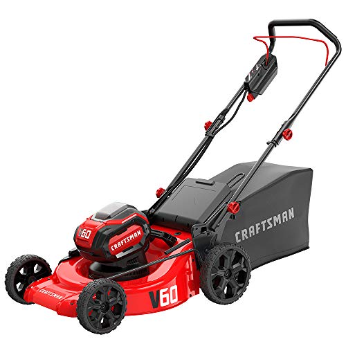 CRAFTSMAN V60 3-in-1 Cordless Lawn Mower, 21-Inch (CMCMW260P1),Red