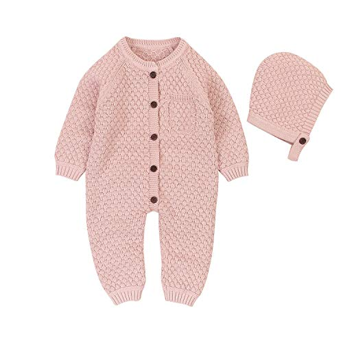 mimixiong Baby Newborn Knitted Sweater Romper Longsleeve Outfit Cotton Jumpsuit with Warm Hat Set (Nude-Pink, 0-6Month)