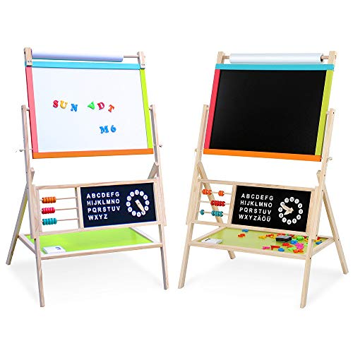 Nemore Easel for Kids All-in-One Multifunction Wooden Art Easel for Kids with Accessories for Kids Toddlers Boys and Girls