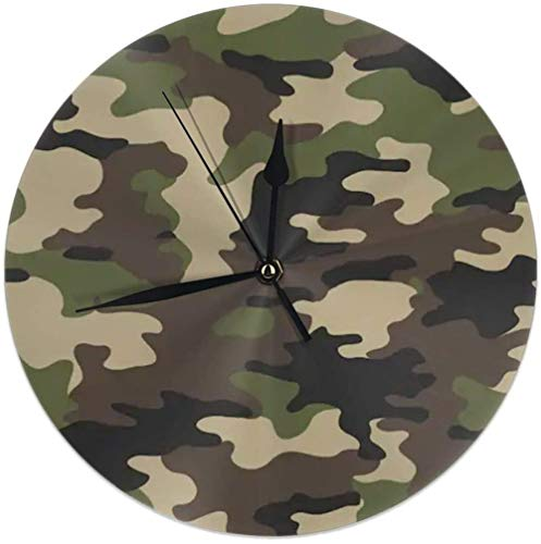 AZHOULIULIU Co.,ltd Reloj de Pared Redondo de Camuflaje Militar Abstracto Camuflaje