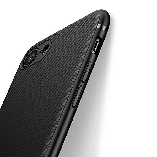 J Jecent Hülle für iPhone SE 2020, Handyhülle für iPhone 8/7 Hülle, Ultra Dünn Soft Silikon Schutzhülle Hochwertigem Stoßfest Kratzfest Anti-rutsch Kohlefaser Textur-Design Case Cover - Schwarz