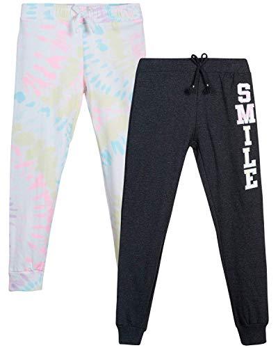 Love Republic Girls' Sweatpants - 2 Pack Active Warm-Up Fleece Jogger Pants (Sizes 7-16), Size 7/8, Charcoal Heather/White Multi