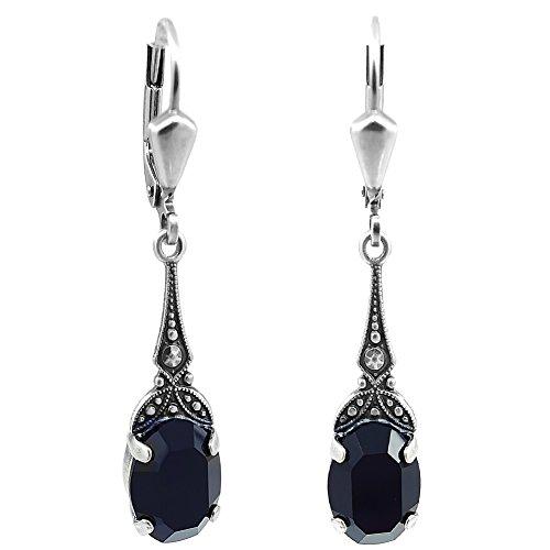 Jugendstil Ohrringe mit Kristallen von Swarovski® Schwarz Silber NOBEL SCHMUCK