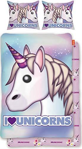 Original Emoji Wende-Bettwäsche Einhorn rosa lila blau 135 x 200 cm + 80 x 80 cm - 100% Baumwolle Linon / Renforcé Bettbezug Unicorn Unicorns Bettzeug Einhörner Emojis Regenbogen deutsche Größe