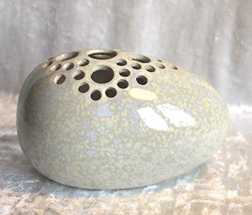 Steckvase Ei Keramik Handarbeit weiße Kristallglasur