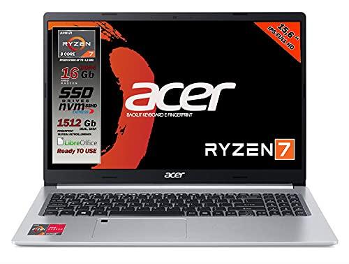 Notebook Acer portatile, Cpu Ryzen 7 5700U 8 core, RAM 16Gb, SSD M.2 512GB + HD 1Tb, Display 15,6  Full HD IPS, tastiera retroilluminata, Fingerprint, 4 usb, wi-fi 6, hdmi, lan Win 10, pronto all uso