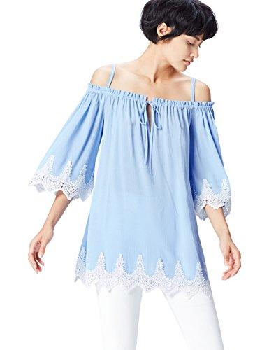 find. Bluse Damen schulterfreies Carmen-Oberteil mit Spitze, Wellenkante, Schluppe und Spaghettiträgern, Blau (Blue), 36 (Herstellergröße: Small)