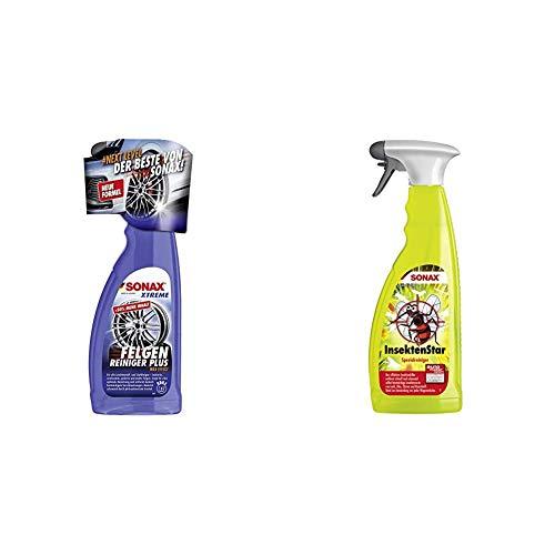 SONAX Xtreme Felgenreiniger Plus (750 ml) effiziente und säurefreie Reinigung Aller Leichtmetall- und Stahlfelgen & InsektenStar (750 ml) entfernt schnell und schonend selbst Insektenverschmutzungen