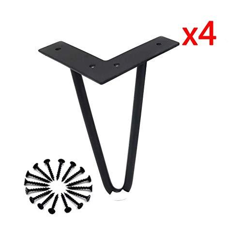 Knoijijuo Robustas piernas Hairpinfüße Pata de la Mesa Juego de 4, sofá Patas de Metal Muebles de baño TV pies, de Hierro - Negro,4.7in(120mm)