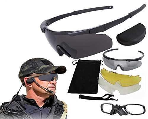 ICE DEA Tactical Combat Military Ballistic EYE-SHIELD Shooting High Impact Resistance Sunglasses With 3 Replacement Lenses And Prescription Glasses Holder