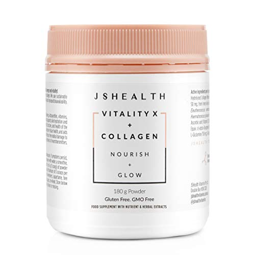 JSHealth Vitamins Vitality X + Collagen - Beauty Powder Supplement with Aloe Vera Silica and Vitamins C & E to Nourish Hair Skin and Nails (180g)