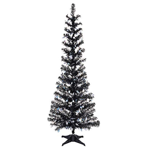 Black Tinsel Trees Collapsible, 5FT Artificial Halloween Christmas Tree Reusable, Pop Up Pencil Xmas Tree with Plastic...