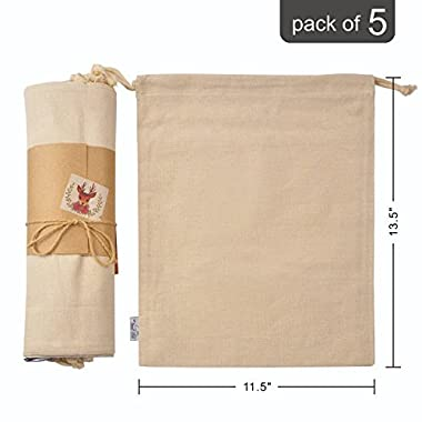 Organic Cotton Muslin Produce Storage Bag with Drawstring 5 Bulk; Large 11.5 x13.5 Inch Canvas Cloth Best for Vegetables, Bread or Laundry, Reusable Mesh for Grocery Shopping and Household Organizing