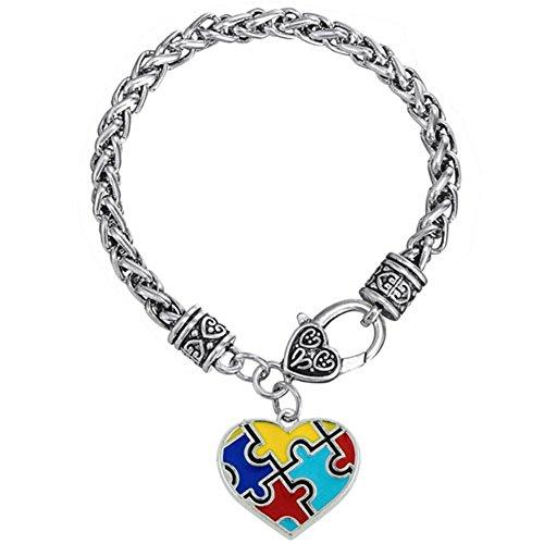 LovelyJewelry Heart Autism Awareness Puzzle Jigsaw Charm Bracelet