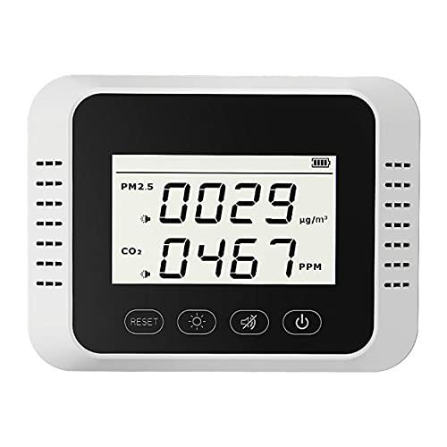 Medidor de sensor de CO2 digital PPM PM2.5 Detector de dióxido de carbono Analizador de gas Monitor de calidad del aire Detector de medidor PM2.5 Probador de PM2.5