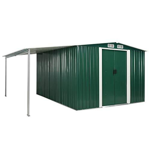 vidaXL Gerätehaus mit Schiebetüren verlängertem Dach Geräteschuppen Garten Schuppen Gartenhaus Gartenschuppen Grün 386x312x178cm Stahl