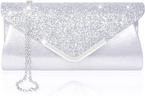 Larcenciel Damen Clutch Abendtasche Unterarmtasche Umhängetasche mit Strass-Steinen und Abnehmbarer Kette in den Farben Silber Gold Altrosa (Silber)