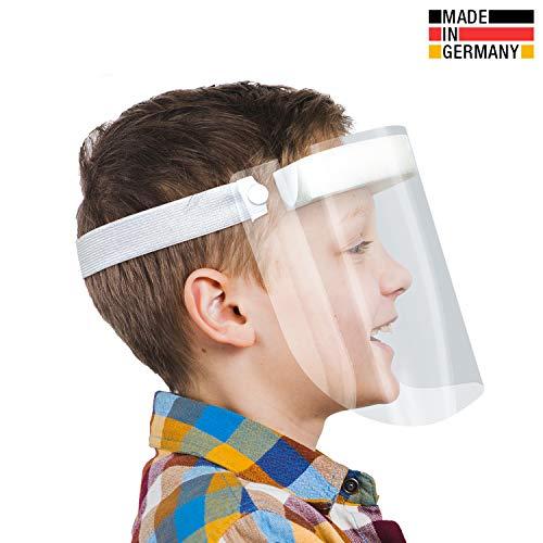 Urhome Hard 1 x Visier Gesichtsschutz aus Kunststoff | Face Shield in Weiß | Universales Gesichtsvisier für Kinder | Visier zum Schutz vor Flüssigkeiten | Made in Germany