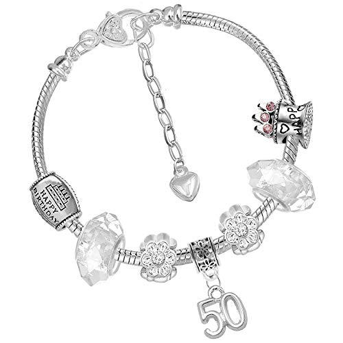 Womens 50th Birthday Sparkly Crystal Charm Bracelet with Silver Gift Box