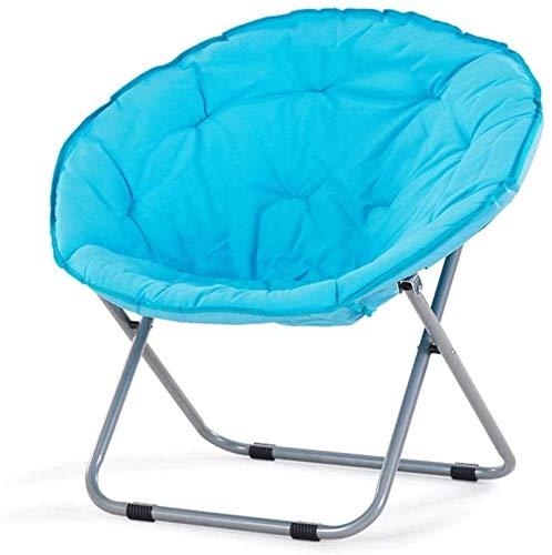 DFANCE Silla plegable ligera con platillo de gran tamaño, silla plegable, marco de metal, reclinable, para el hogar, sofá, tumbona, balcón, ocio, silla de luna (azul)