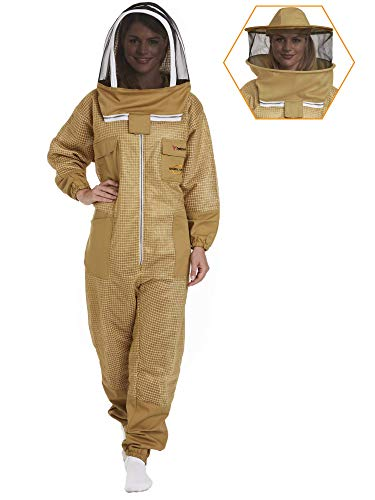 NATURAL APIARY - Zephyros Protect - Ventilated Beekeeping Suit – Total Protection for Professionals and Beginners - X Small - Khaki