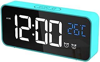 CHEREEKI Digitaler Wecker, LED Digitaluhr mit Temperaturanzeige Tragbarer Spiegelalarm Tischuhr mit 2 Alarmen 16...