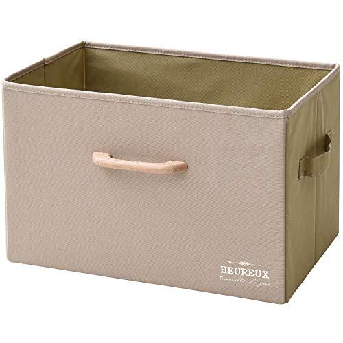 山善 どこでも 収納ボックス 幅38×奥行25×高さ25cm 木製取っ手 カラーボックス対応 完成品 ベージュ YTC-MSB1P(BE)