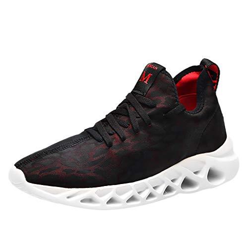 AIni Herren Schuhe,Beiläufiges Mode 2019 Neuer Heißer Laufen Freizeitschuhe Atmungsaktive Turnschuhe Mesh Walking Schuhe Partyschuhe Freizeitschuhe(43,Rot)