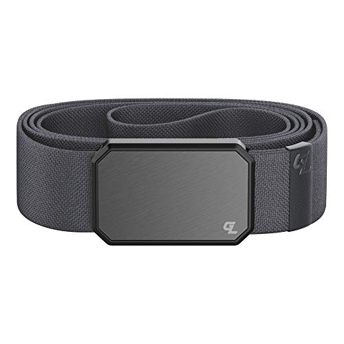 Gun Metal/Stone Groove Belt by Groove Life - Men's Stretch Belt with Magnetic Aluminum Buckle, Lifetime Coverage - Small