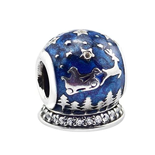 LISHOU Joyería De Plata Esterlina 925 para Mujer Noche De Navidad Esmalte Azul Medianoche Abalorios Transparentes Aptos para Pulseras Pandora Europeas Fabricación De Joyas DIY
