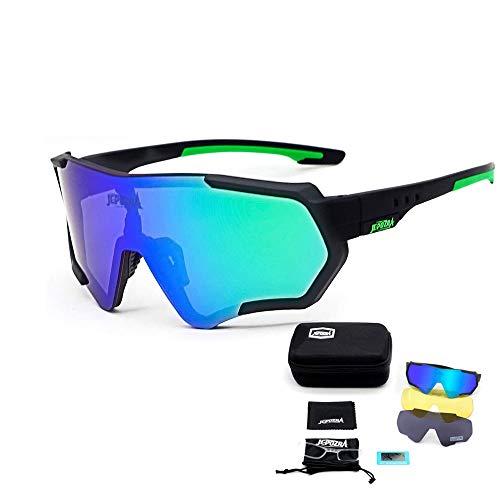 Sport Sonnenbrille Fahrradbrille Sportbrille mit UV400 3 Wechselgläser inkl Schwarze polarisierte Linse für Outdooraktivitäten wie Radfahren Laufen Klettern Autofahren Laufen Angeln Golf Unisex