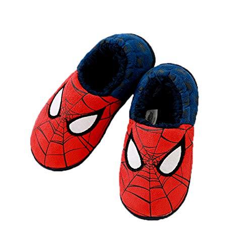 WQLESO Enfants Pantoufles en Coton Spiderman garçons et Filles Hiver Tout Compris Dessin animé antidérapant Chaud Chaussures de Maison,Spiderman-27EU