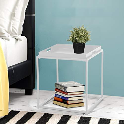 FurnitureR Mesa auxiliar lateral cuadrada pequeña, mesa de sofá, mesa auxiliar de bandeja, mesa de…