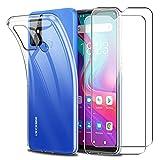 Reshias Hülle kompatibel mit DOOGEE X96 Pro,Weich Transparent TPU Silikon Handyhülle Schutzhülle mit Zwei Gehärtetes Glas Schutzfolie Bildschirmschutzfolie für DOOGEE X96 Pro 6.52''