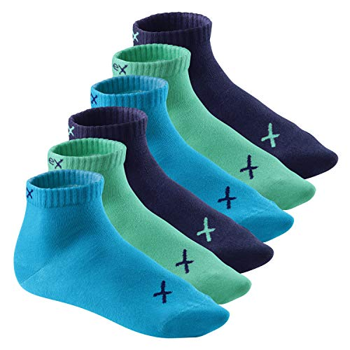 CFLEX Lifestyle Herren & Damen Kurzschaft Socken (6 Paar), Baumwoll Quarter Socken - Oceanic 39-42