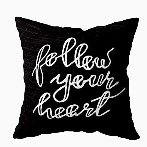 Fodere per cuscini Cuscino per la casa Morbido divano per la casa Fodere per cuscini decorativi Douecilsh Segui il tuo cuore Sfondo Inchiostro Frase di calligrafia moderna Scritto a mano Doppio stampa