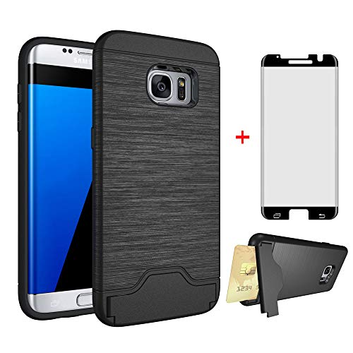 Phone Case for Samsung Galaxy S7 Edge with Tempered Glass Screen Protector Cover and Credit Card Holder Cell Accessories Stand Slim Hard Wallet Glaxay S7edge S 7 Plus 7s 7edge Cases Women Men Blue