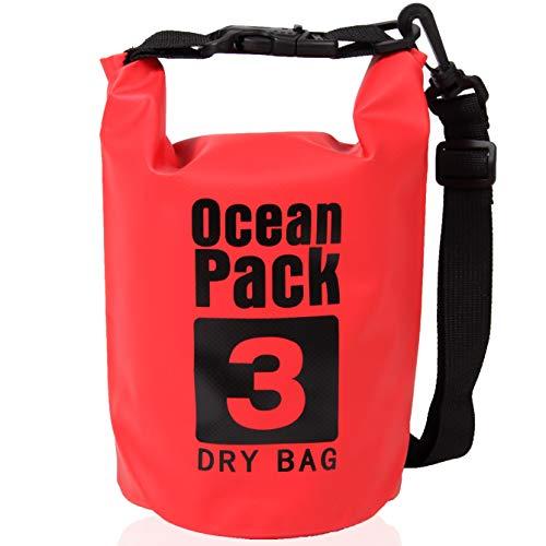XENOBAG - Bolsa Impermeable (3 L, pequeña, Impermeable, con Correa Ajustable y Cierre de Seguridad), Color Rojo, tamaño 3 L