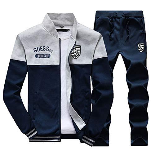 ZIXINGA Uomo Tute da Ginnastica Felpa Giacche + Casual Pantaloni Jogging Sportive Lake Blu 2XL