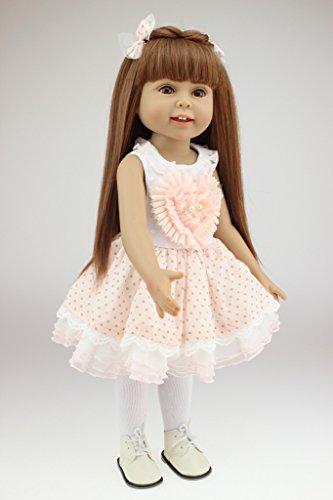 Nicery 18inch Lovely Girl Reborn muñeca de Juguete Suave de Alta Vinilo 45cm Realista móvil de la Sonrisa del Corazon de Princesa Pink Reborn Baby Reborn Doll