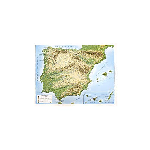 Mapa en relieve España físico: Escala 1:3.500.000