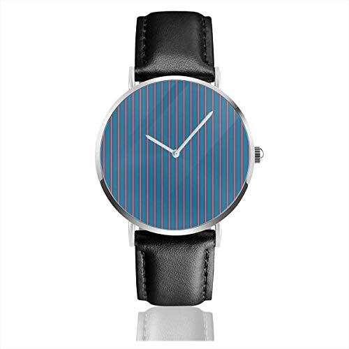 Armbanduhr Quarzuhr Streifen Lila Blau Senf Ch Freizeituhren mit schwarzer Lederuhr
