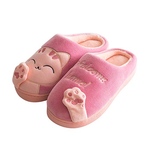 Zapatillas Invierno Zapatillas De Casa De Invierno para Mujer, Gato De Dibujos Animados, Antideslizante, Cálido, Interior, Dormitorio, Zapatos De Piso