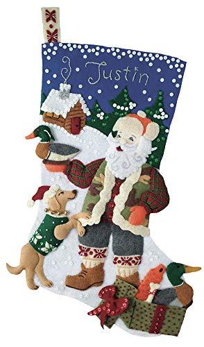 Outdoorsman Santa 18' Felt Christmas Stocking Kit