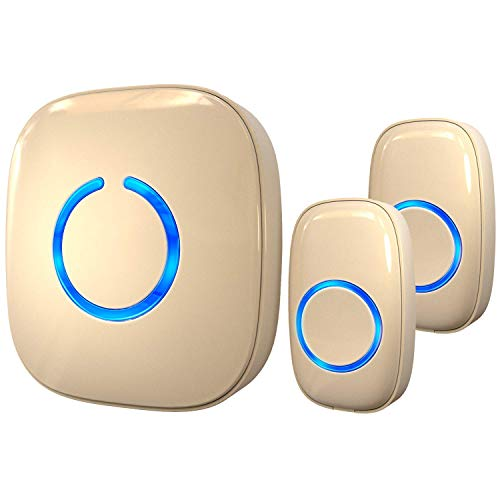 small SadoTech Beige Wireless Doorbell: Home CX Wireless Doorbell with Two Buttons…