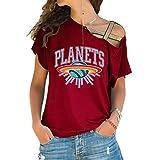 T-Shirt Dames Casual Cross épaule irrégulière Chemise à Manches Courtes Lettre Terre-vin Rouge_S